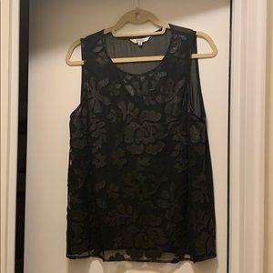 Sleeveless black printed blouse